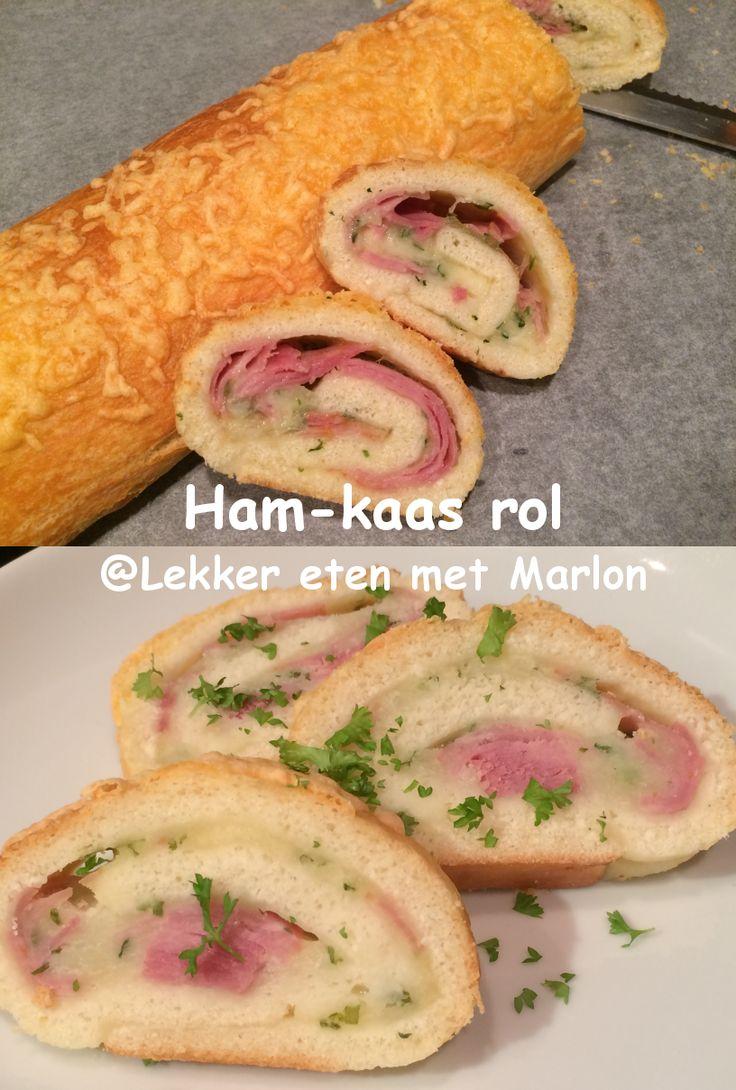 Deze ham-kaas rol is heel makkelijk te maken en erg lekker Kant en klaar pizzadeeg, 2 bolletjes mozarelle, ham, bieslook en eventueel peterselie voor garnering.
