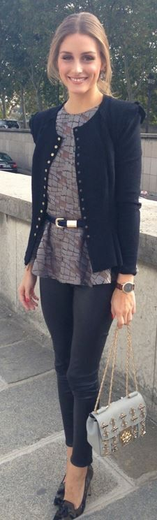 Who made  Olivia Palermo's black button jacket, gray print top, belt, crystal handbag, and camo pumps?