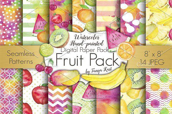 Fruit Watercolor Digital Papers Pack by Tanya Kart on @creativemarket