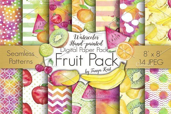 Fruit Watercolor Digital Papers Pack by Tanya Kart on @creativemarket