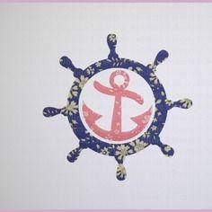 Appliqués thermocollants ancre et roue de bateau liberty capel encre et corail