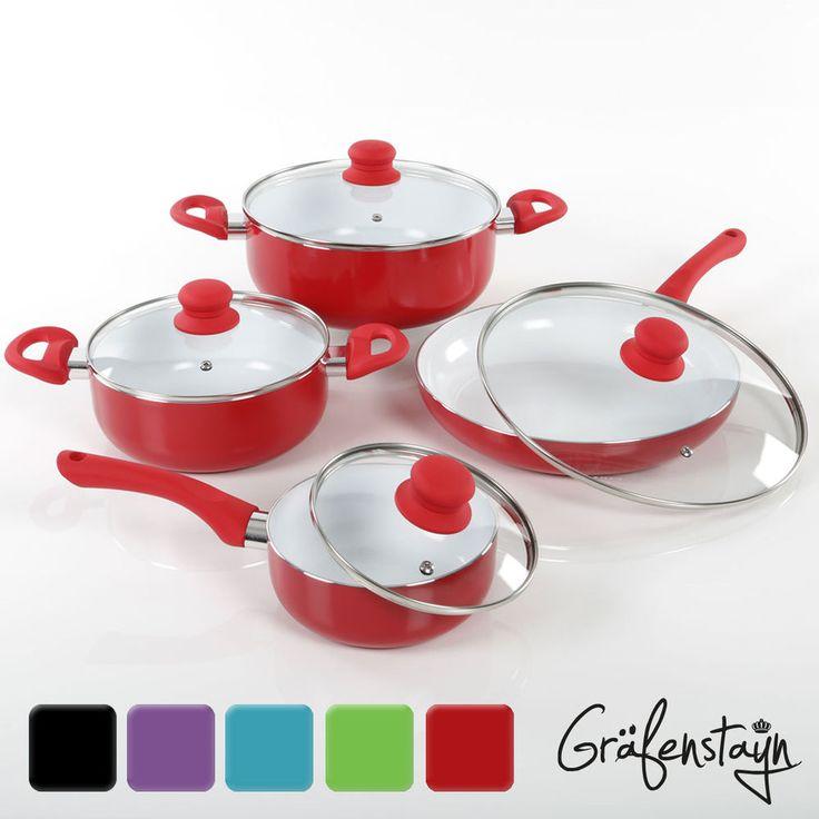 8-tlg. Gräfenstayn Keramik Kochtopfset Induktion Kochtöpfe + Pfanne + Glasdeckel