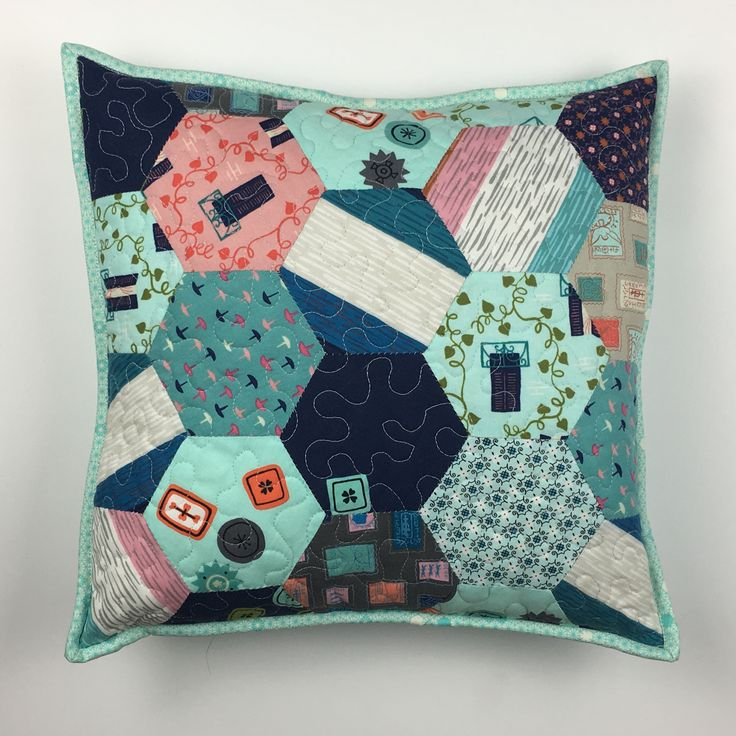 2 inch hexagon cushion / pillow. English paper piecing EPP. Patchwork and quilting.
