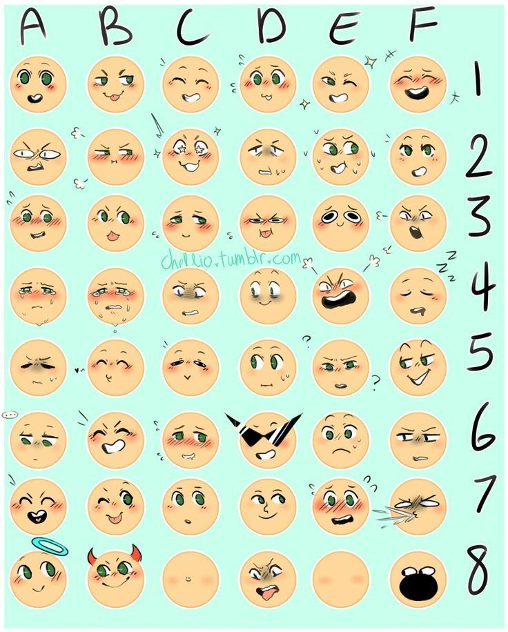 Different Face Expressions I Found On Tumblr Credit To The Artist In The Picture Drawing Expressions Drawing Meme Drawing Face Expressions