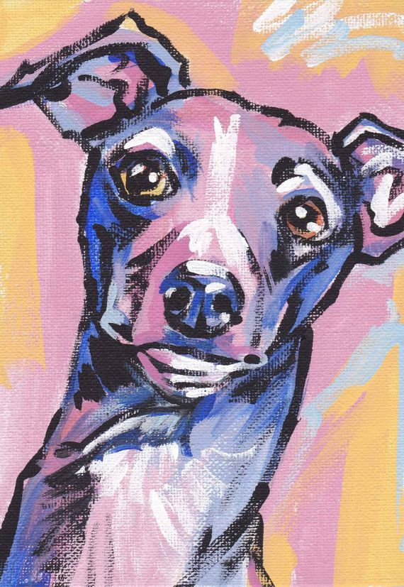 Italian Greyhound art print dog pop art bright by BentNotBroken, $11.99