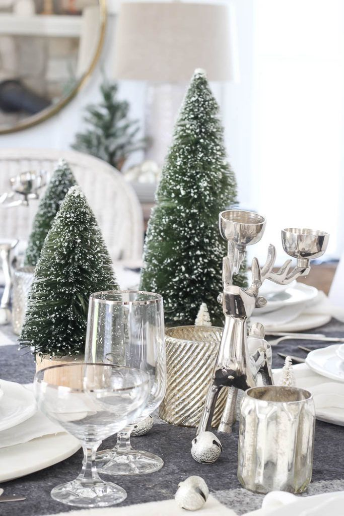 Decorating With Bottle Brush Trees Christmastree Christmas Tablescapes Bottle Brush Trees Holiday Tablescapes