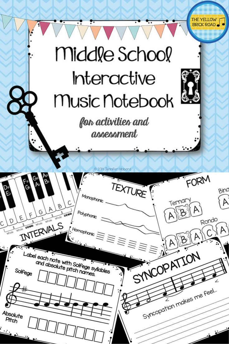 Middle School Interactive Music Notebook. Great for engaging 5th and 6th grade general music students!