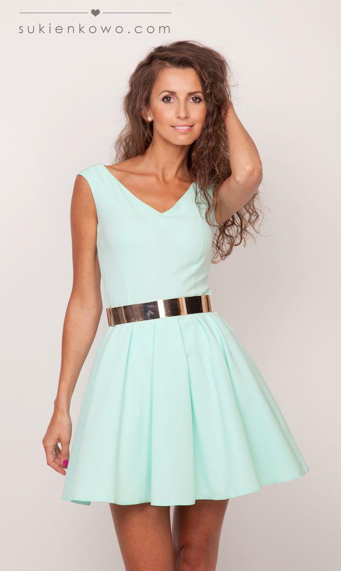 Sukienkowo.pl - Rozkloszowana sukienka MIĘTOWA , klasyka luxusu LISA