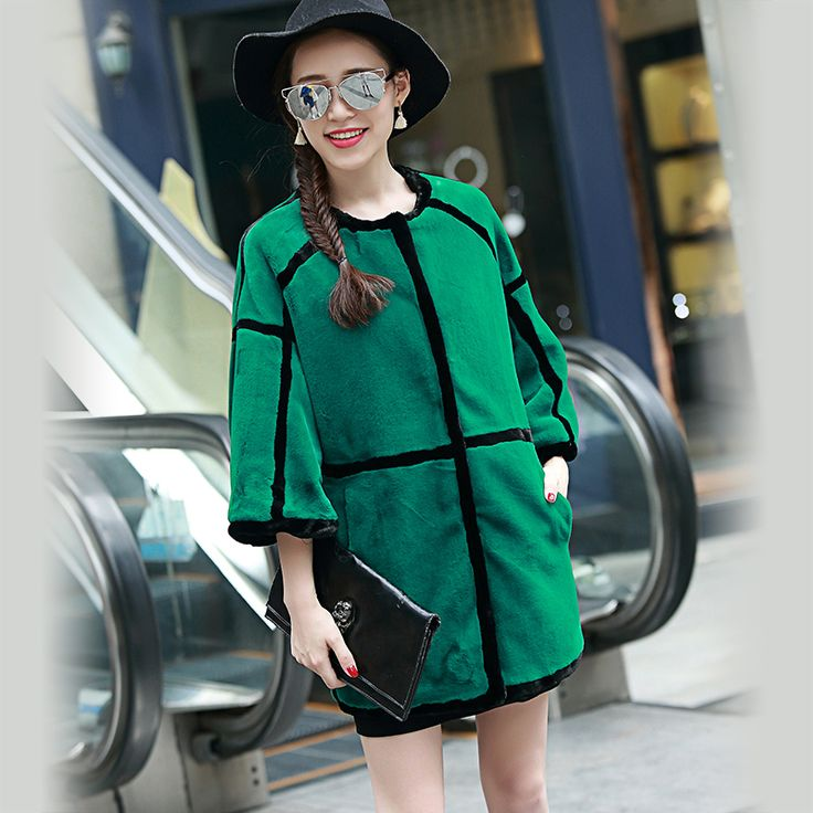 Nerazzurri Colored Faux Fur Coats for Women Cheap Winter Coat O-Neck Striped Fashion Luxury Synthetic Sheepskin Jacket 2017