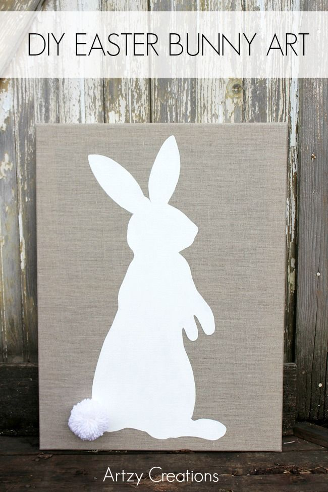 Make this ADORable DIY Easter Bunny Art with FREE template in no time. You'll have this for years to come!