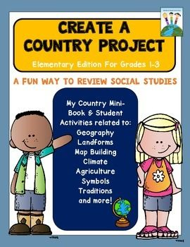 Newly updated and revised with my country mini-book, vocabulary posters, and engaging student activities related to all the different geography and cultural themes such as traditions, flag facts, climates, housing, natural resources, agriculture, schooling, transportation (and more) of this creative hands-on project!This is a great anytime of the year project!