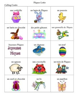 French Easter Bingo Game to introduce your students to vocabulary. $2