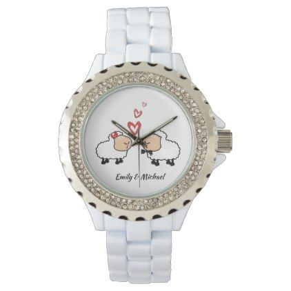 Adorable cheerful cute funny sheep in love wristwatch - couple love gifts present idea