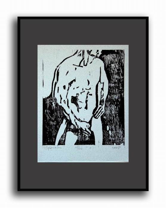 Orginal Nude Man Woodcut Nude Male Original by evartstudio