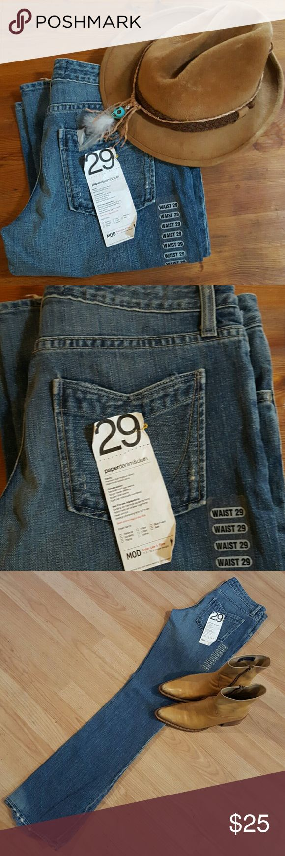 Paper denim Jeans Light wash jeans with intentional worn out hem . New with tags in a boot cut style is so right now a perfect for tomorrows fashion . Casual look that can be dressed up with heels , boots or your favorite shoes . Or go for a white shirt under a black leather jacket and converse high tops in black or white ... great price for a new jean Jeans Boot Cut