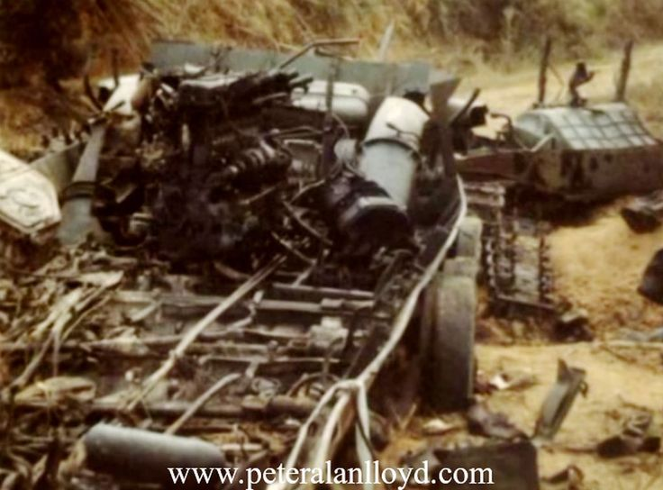 The remains of a destroyed North Vietnamese armoured Personnel Carrier the following day.