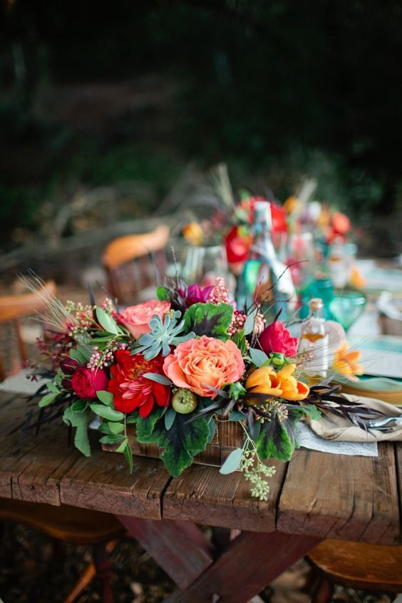 bright colorful rustic Bohemian Romance flower wedding centerpiece / http://www.himisspuff.com/wooden-box-wedding-decor-centerpieces/12/