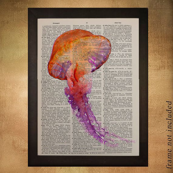 Red Jellyfish Dictionary Art Print Purple Marine by Lexiconograph