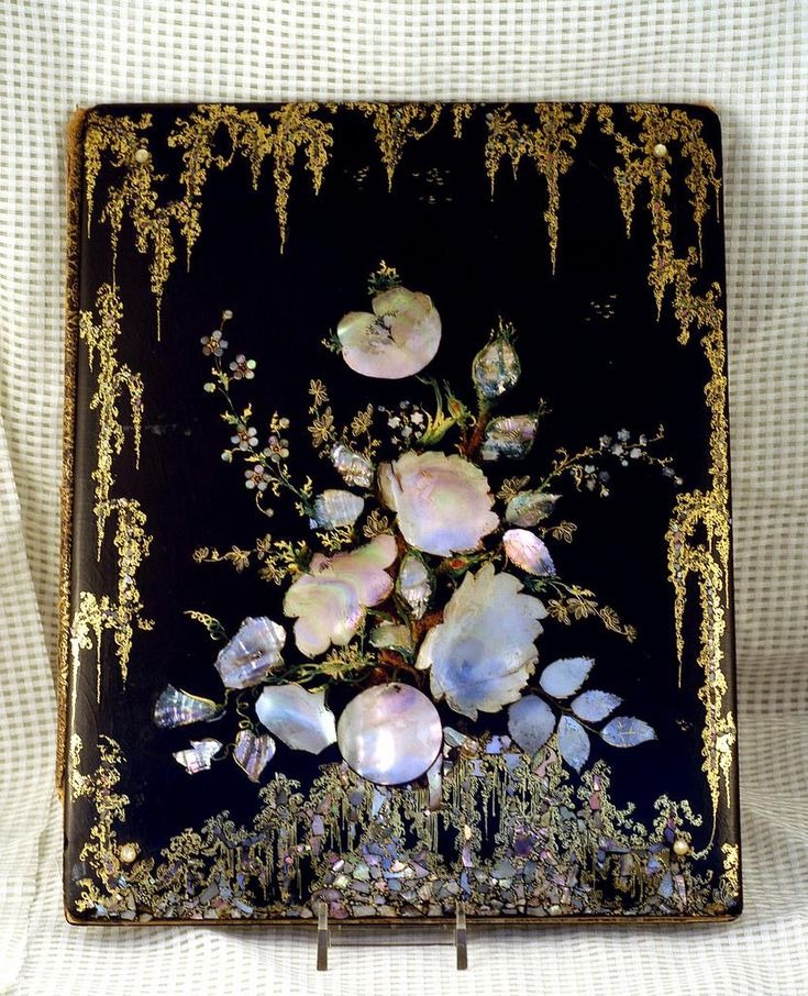 Victorian Papier Mache Blotter Mother of Pearl Inlay & Gilt Painting
