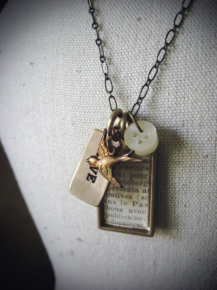 Love Bird- Rectangle Gold Plated Bezel with vintage text No 1106.