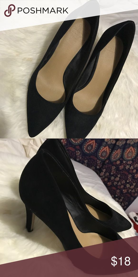 POINTY BLACK SUEDE HEELS. ASOS SIZE 7 black suede pointy heels bought from asos. lightly worn. Asos Shoes Heels