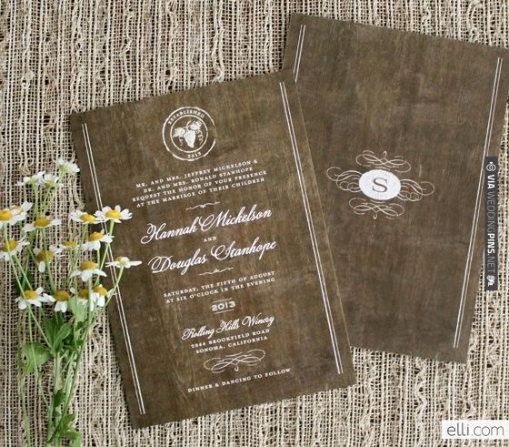 Rustic winery wedding invitation + monogram   VIA #WEDDINGPINS.NET