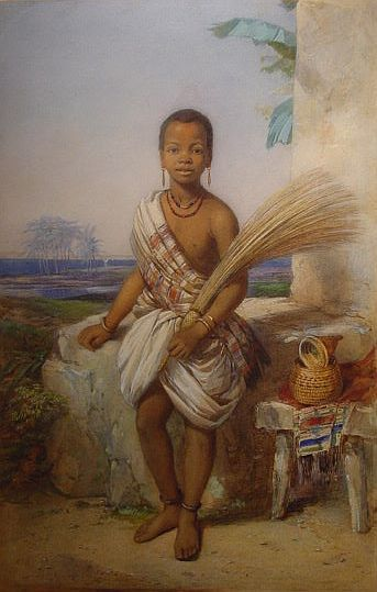 Princess Sarah Forbes Bonetta as a child painted by British watercolorist Octavious Oakley (1800-1867). Sarah Forbes Bonetta was an African princess who captured the heart of England's Queen Victoria. The sad part of this story was that this beautiful little girl was presented to Capt. Forbes, of her Majesty's ship Bonetta (hence her name) by the King of Dahomey. The greatness of Dahomey kingdom was built on slavery of African people, where most of the slaves were shipped to USA and Brazil!