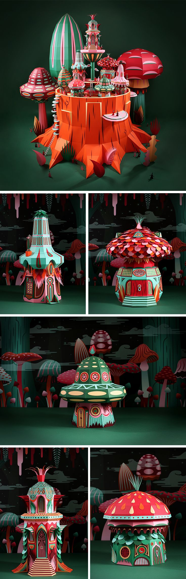 Click for more pics! Fantastic Miniature Worlds Bursting with Color for Hermès Window Display in Dubai