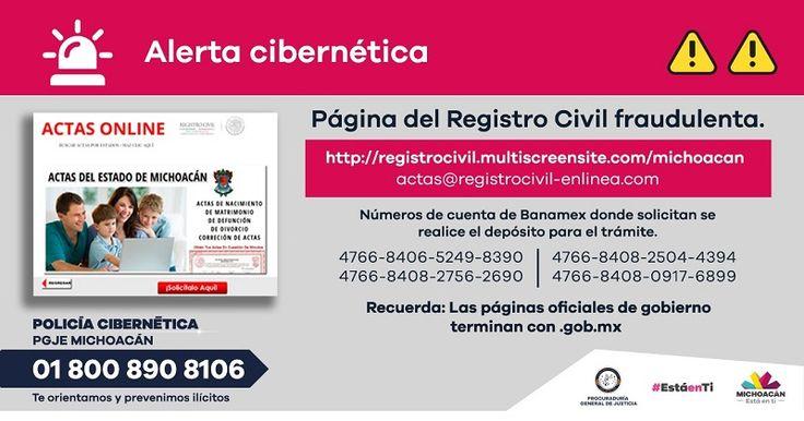 De acuerdo con la dependencia estatal, se detectó un sitio de internet apócrifo que solicitaba depósitos en efectivo utilizando la imagen del Registro Civil de Michoacán – Morelia, Michoacán, 14 ...