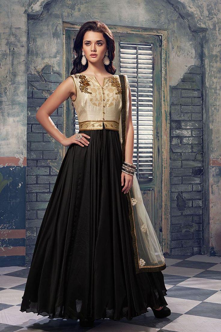 Show details for Black & cream color yoke style long anarkali suit