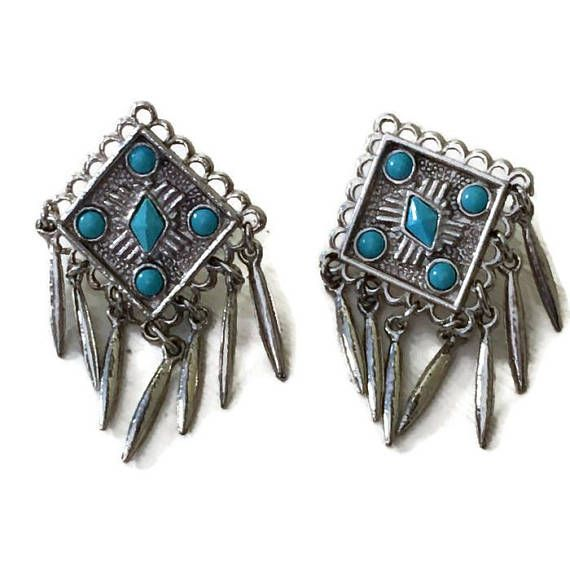 Southwestern Style Silvertone Turquoise Fringe Dangle Earrings