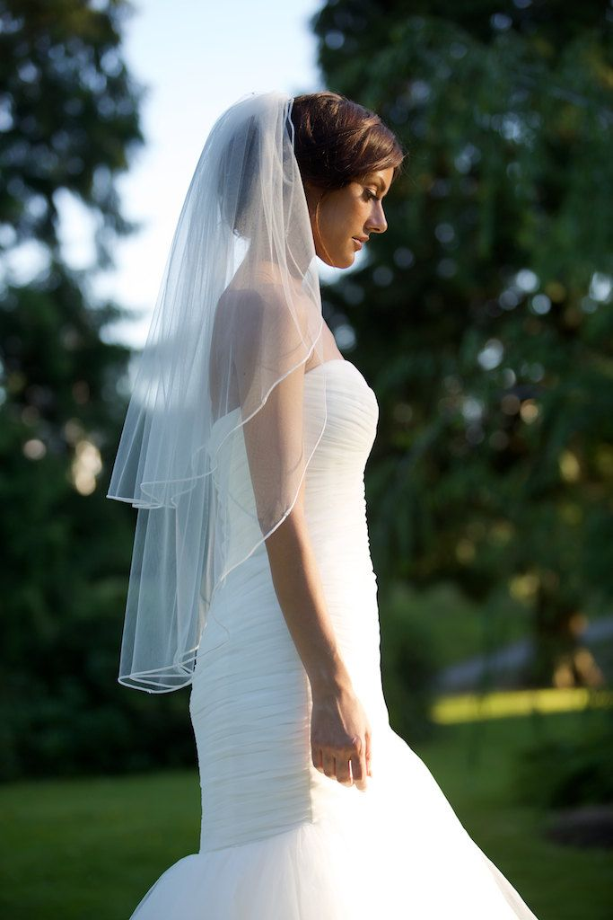Fingertip veil with blusher double-tier by CoutureBrideBoutique