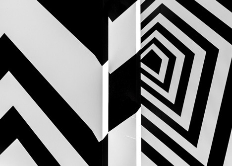 German artist Tobias Rehberger has created a temporary replica of his favourite Frankfurt at the Americano hotel in New York hotel and covered the entire thing in bold geometric stripes