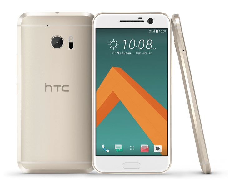 White HTC 10 smartphone image. Portrait, front, back and lateral view. Easily customize this image with your own Android app on PicApp.net.