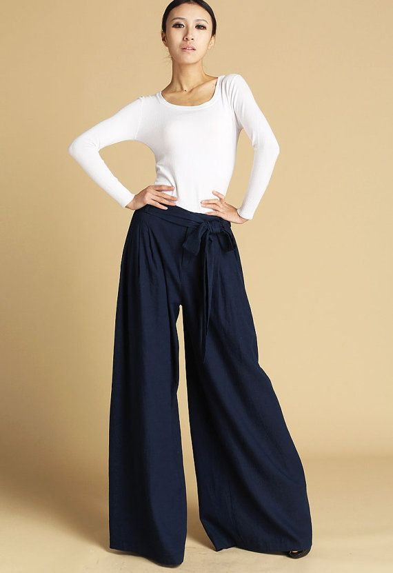 Dark blue linen maxi pants 471 by xiaolizi on Etsy, $39.99
