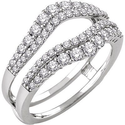 Solitaire Enhancer Round 1.00ct Diamonds Ring Guard Wrap 14k White Gold Jacket
