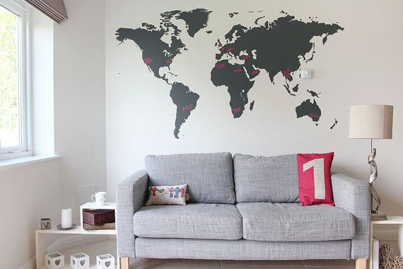 Wall Decal Large World Map For Men 7 x 4ft by vinylimpression. Explore more products on http://vinylimpression.etsy.com