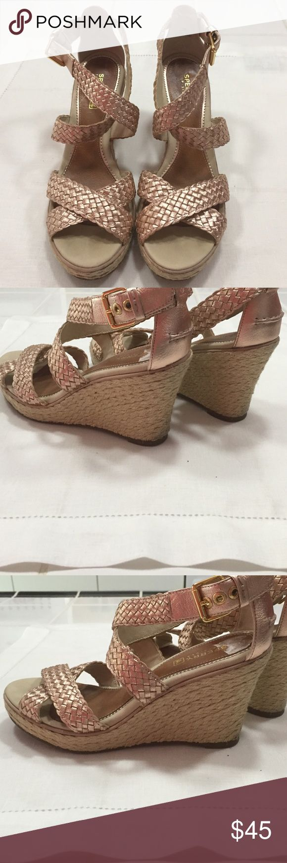 Sperry Rose Gold Wedge Cross Ankle Shoes Sperry Rose Gold Cross Ankle 3 1/2 inch Wedge Good Shape Sperry Top-Sider Shoes Wedges
