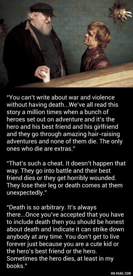 """George RR Martin: Game of Thrones characters die because """"it has to be done"""""""