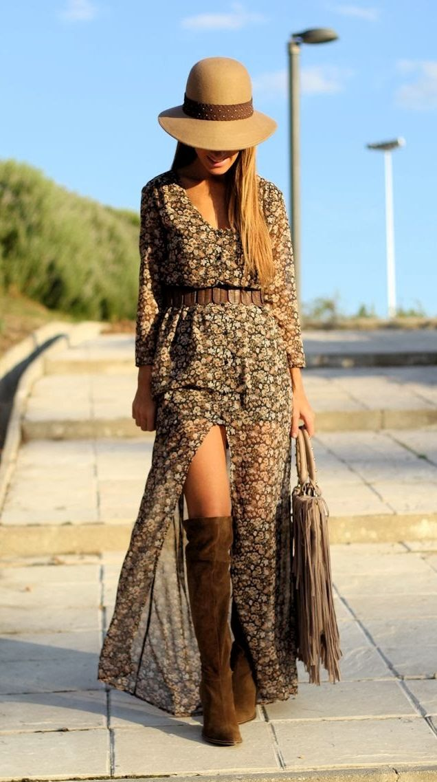 Fall/Winter Outfit Inspiration tan brown dress long knee high boots brown tan hat