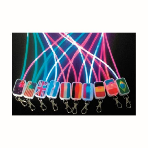LED LANYARD  A lanyard that lights up and perfect for festivals and events. Available in Red, Yellow, Blue, Green, and Orange and logo can be printed on the square attachment on base of lanyard. Offering a longer lasting battery to keep it lighting up for about 30hours. Price includes full colour print on the square attachment. Please note these lanyards cannot have breakaway attachments.