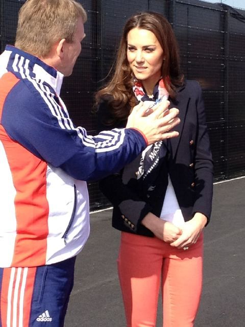 Emilio Pucci double breasted jacket and Zara pop slim fit jeans What Kate Wore