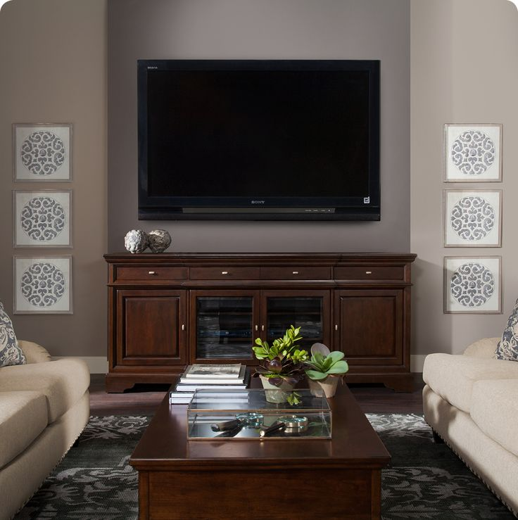 The Canyon credenza doubles as an elegant TV stand, offering plenty of media storage.
