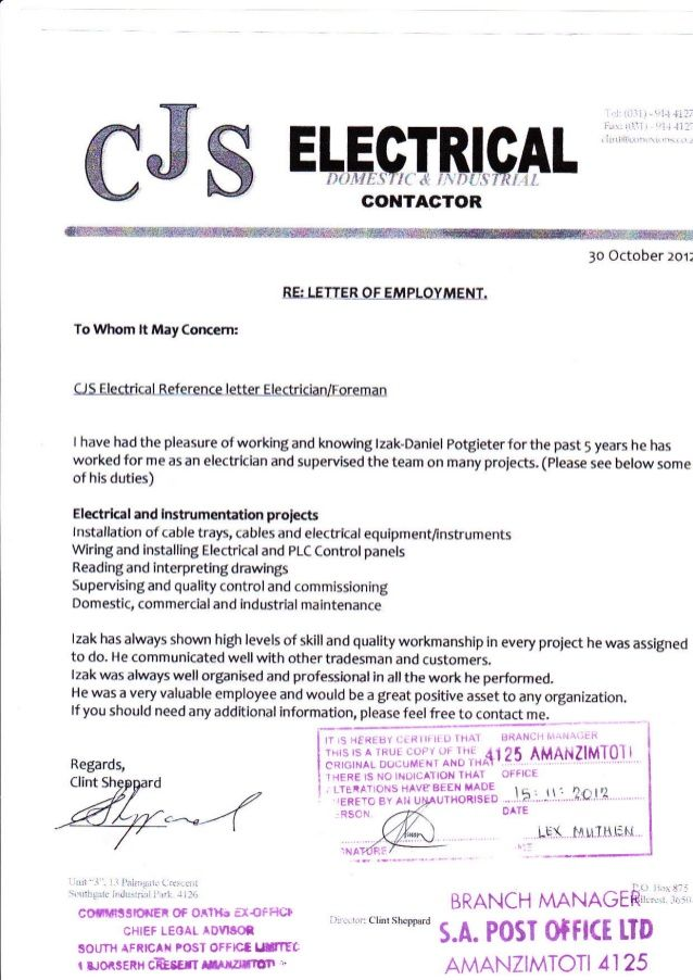reference letter sample to electrician - Yahoo Image Search ...