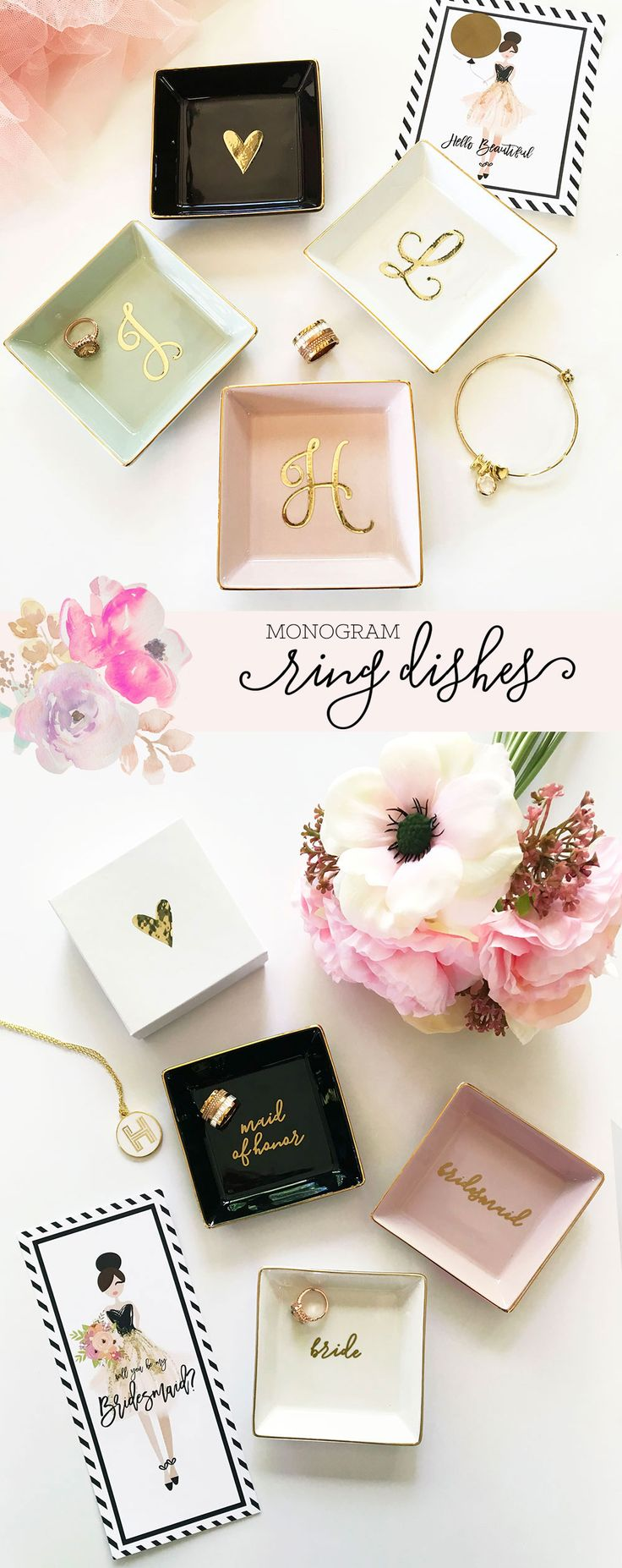 Monogram Ring Dishes | Bridesmaid Gifts | Bridesmaid Ring Dish | Personalized Jewelry Dish | Christmas Gifts for Women