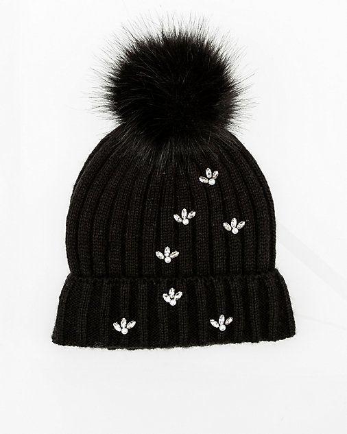 00dee0830e74e6 Gem Embellished Rib Knit Hat | FALL | Hats, Knitted hats, Rib knit