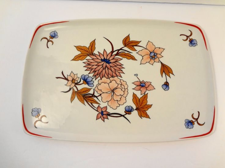 Hollohaza Hungary  Floral Porcelain  Rectangular Wall Plate / Tray - Vintage by TresTresInteressant on Etsy