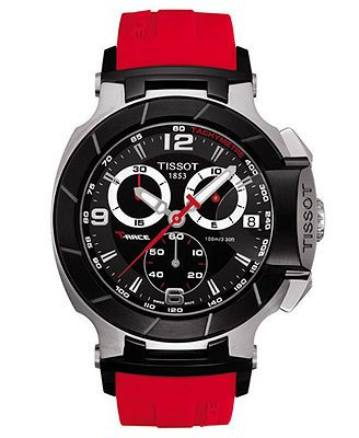 Tissot Watch, Men's Swiss Chronograph T-Race Red Rubber Strap T0484172705701  At Macy's...