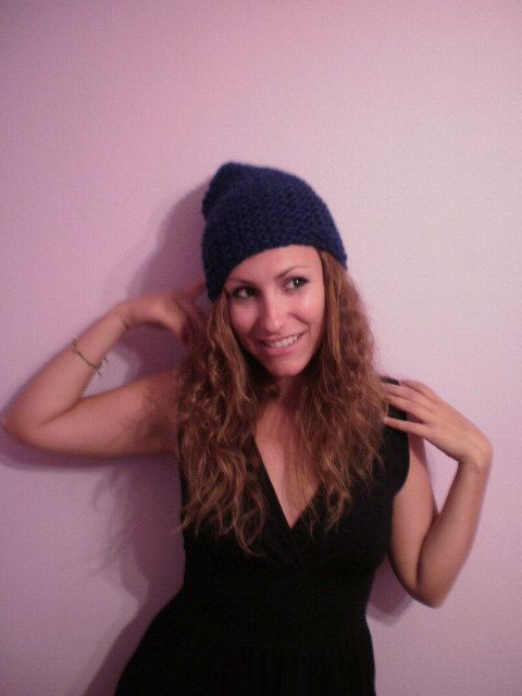 Girly handknitted hat /navy blue/   size made by KaterinakiJewelry