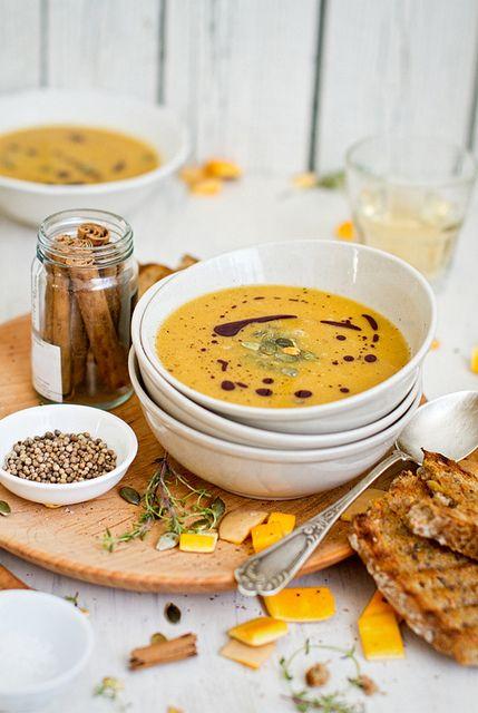 Pumpkin soup! love the styling.